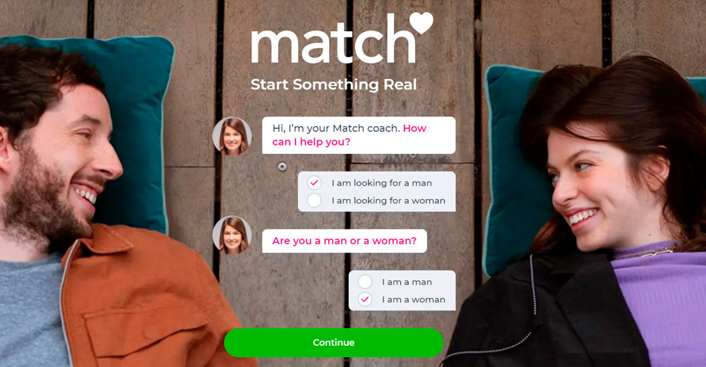 Match.com sign up page - Looking for