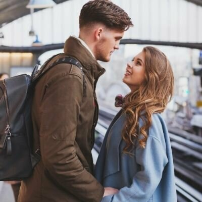 Couple in Train Station